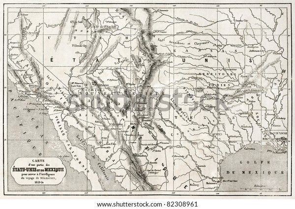 Old Map Northern Mexico Southwestern Usa Stock Photo (Edit ...