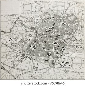 Old map of Nuremberg, Germany. From unknown author,  published on Le Tour du Monde, Paris, 1864
