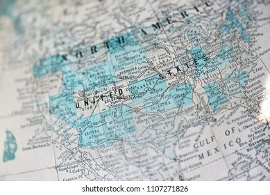 Old map on globe of North America, with focus on the United States.