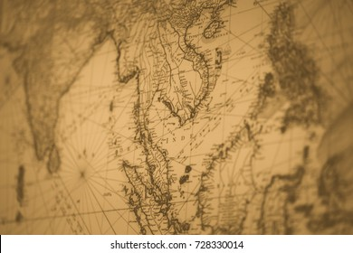 old map Siam or Thailand vintage color tone for background
