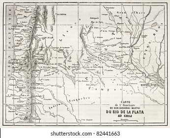 Old map of south-American region between Santiago and Buenos Aires. Reated by Vuillemin, Erhard and Bonaparte, published on Le Tour du Monde, Paris, 1860