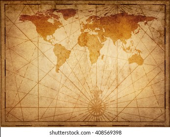 Old map of the world. Elements of this Image Furnished by NASA