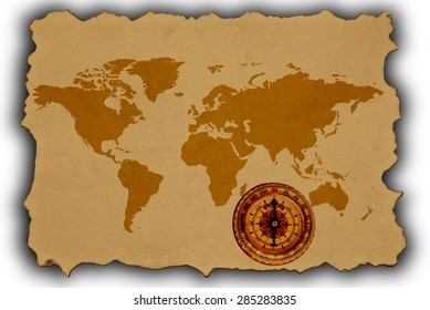 Old Map of the World isolated on white
