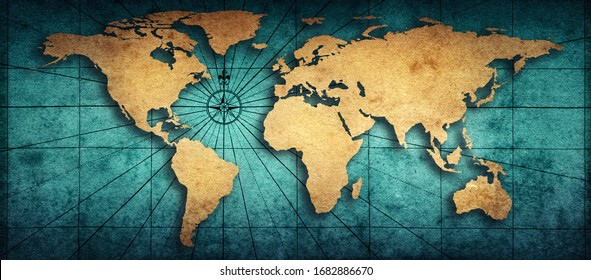 Old map of the world on a old parchment background. Vintage style. Elements of this Image Furnished by NASA. - Shutterstock ID 1682886670