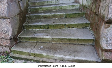 Old marble stone staircase villa in park