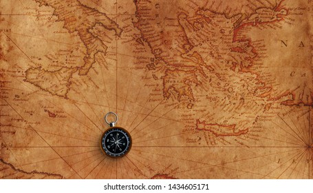Old marine map of mediterranean sea with small compass.