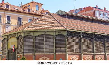 old market built in 1882 brick and iron columns, Valladolid, Spain