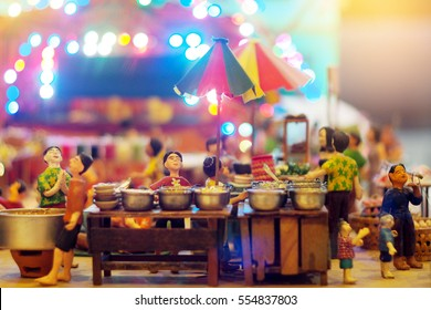 The old market selling a variety of food miniature.