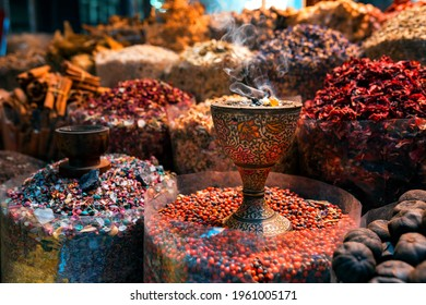 Old Market Shop with oriental spices and incenses. Dubai, Deira Old market