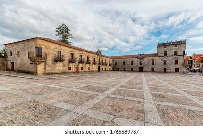 Old market square and nerve center of the city of Cambados. One of the most beautiful squares in Galicia. Tourism in Galicia. The most beautiful spots in Spain.