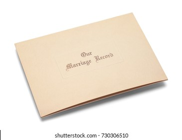 Old Marriage Certificate Folder Isolated on White Background.