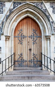 Old massive church door of the catholic church