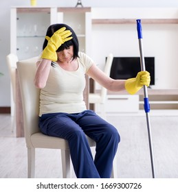 Mature Woman Cleaning House Images Stock Photos Vectors