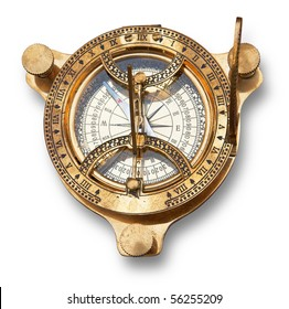 Old measuring instrument for navigation isolated. Clipping path included.