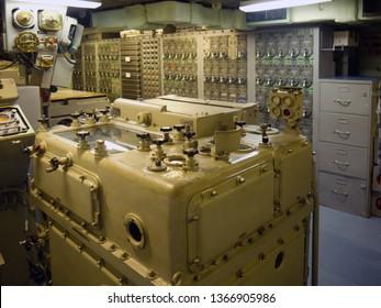 Old mechanical analog computer on wwii batleship