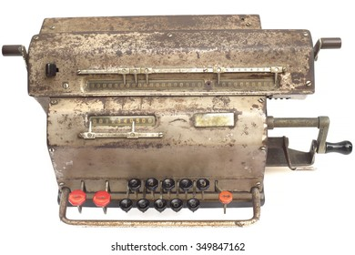 Old mechanical calculator, isolated on white background. (About 1938s - 1954s from Sweden)