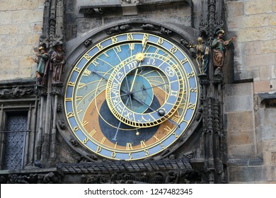 old  medieval astronomical clock located in Prague the capital of the Czech Republic