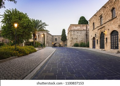 Old medieval buildings in old town in City of Rhodes (Rhodes, Greece)