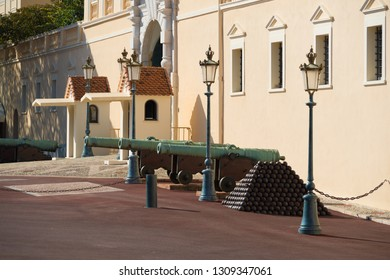 old medieval cannons in front of the royal palace of Monaco