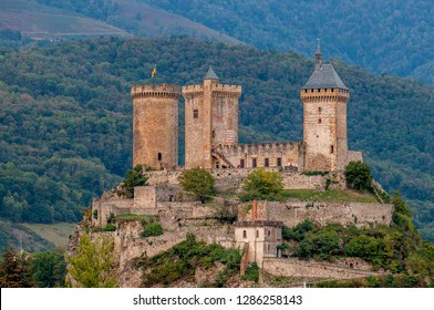 Old medieval castle in Foix, Ariege, south France.