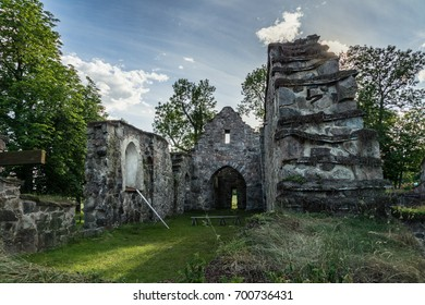Old medieval church ruin in Lundby Sweden. On a beautiful summer evening