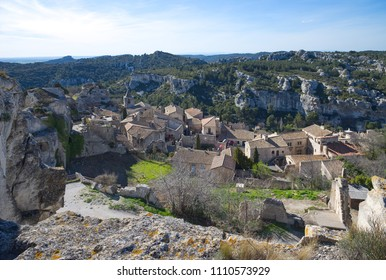 Old medieval city on the rock formation in Les Baux de Provence - Camargue - France