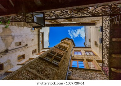 Old medieval courtyard Traboules in Lyon France - travel and architecture background
