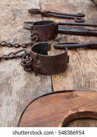 old medieval handcuffs
