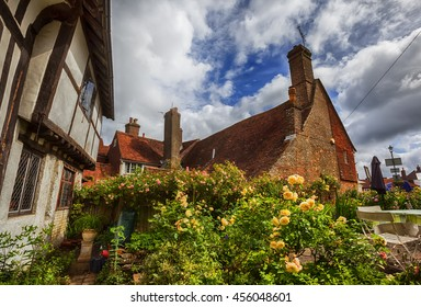 old medieval house and garden  in Battle town , East Sussex,  England