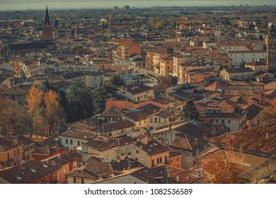 Old medieval Roman city from the bird's-eye view. Vintage effect. Verona, Italy.
