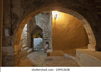 Old medieval streets at the Castle of Naxos island in Greece