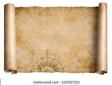 old medieval treasure map scroll isolated