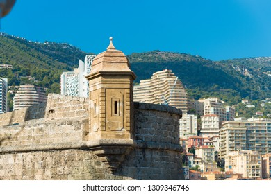 old medieval watch tower above the Hercules port in Monaco
