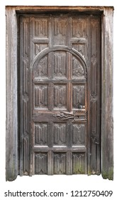 Old Medieval Wood Door with lots of none figurative gravures on isolated background