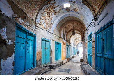 Old Medina was captured in Kairouan City, Tunisia on April 13th 2018. It is the labyrint of small narow streets and markets.