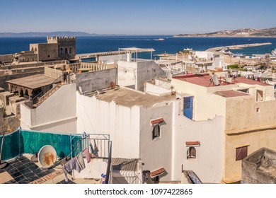 The old medina and the port of Tangier, Morocco, facing the Strait of Gibraltar and the Spanish coast.