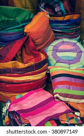 Old Medina souk Fez, artisan shop of colorful moroccan leather, Fez, Morocco.