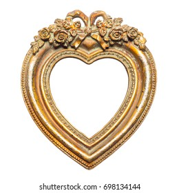 Old memories - gold heart shape picture frame