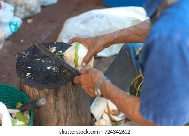 Old men are peeling coconuts for sale.