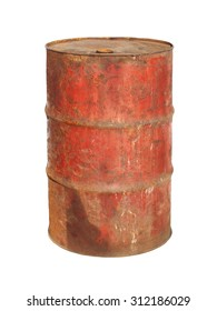 old metal barrel oil isolated on white background, with clipping path