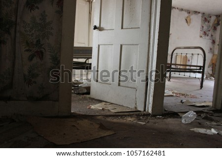 Old Metal Bed Frame Abandoned Room Stock Photo Edit Now 1057162481