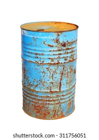 old metal blue barrel oil isolated on white background, with clipping path