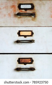 Old metal cabinet with drawers blue color with rusty.