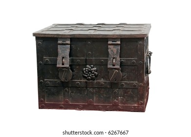 Old metal chest with ornamental iron fittings over white background