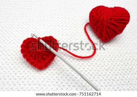 Old Metal Crocheting Hook Red Yarn Stock Photo Edit Now 751162714