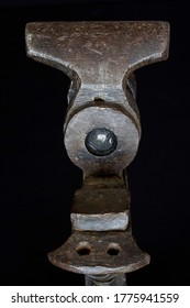 old metal damaged carpentry vice close-up
