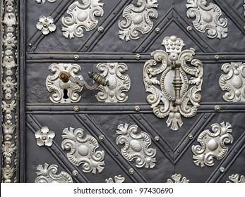 an old metal door close up