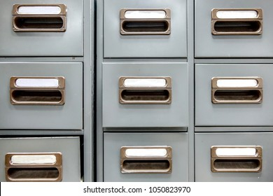 Old Metal drawer cabinet. Idea use of contain and categorize secret papers and  documents.