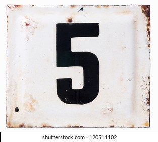 Old metal enamel plate with number five isolated