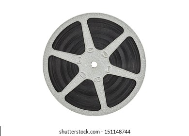Old metal film reel isolated with clipping path.